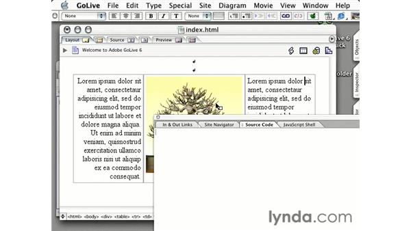 editing the source of a page: Learning GoLive 6