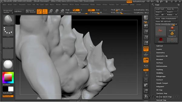 Sculpting bony plates: Digital Creature Creation in ZBrush, Photoshop, and Maya