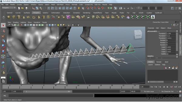 Duplicating the teeth: Digital Creature Creation in ZBrush, Photoshop, and Maya