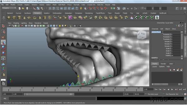 Finishing the teeth: Digital Creature Creation in ZBrush, Photoshop, and Maya