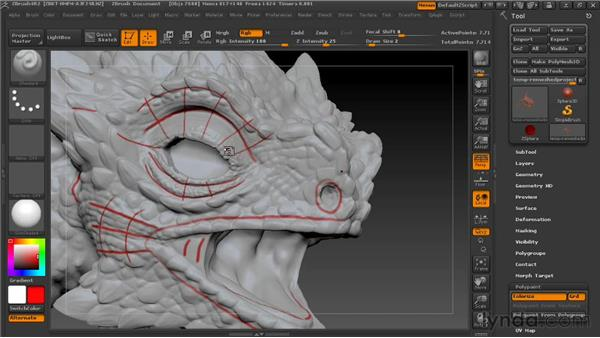 Fleshing out the retopology guides: Digital Creature Creation in ZBrush, Photoshop, and Maya