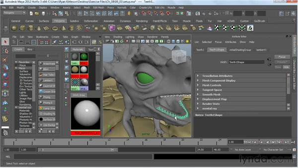 Setting up the scene for rendering: Digital Creature Creation in ZBrush, Photoshop, and Maya