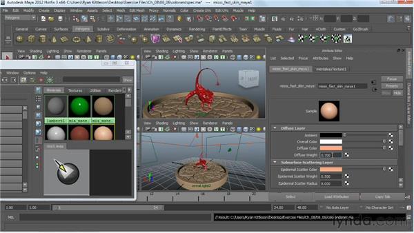 Adjusting the skin shader: Digital Creature Creation in ZBrush, Photoshop, and Maya