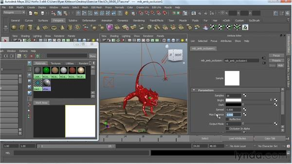 Adding ambient occlusion to the shaders: Digital Creature Creation in ZBrush, Photoshop, and Maya