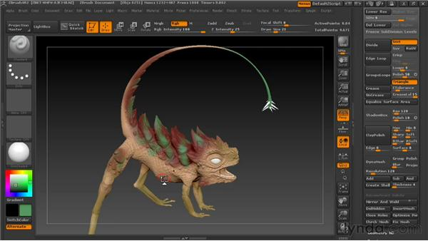 Polypainting colors in ZBrush: Digital Creature Creation in ZBrush, Photoshop, and Maya