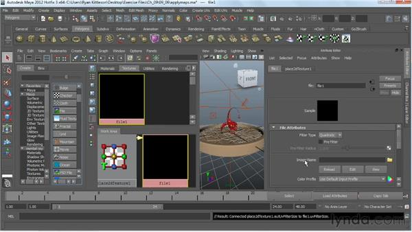 Importing the maps into Maya: Digital Creature Creation in ZBrush, Photoshop, and Maya