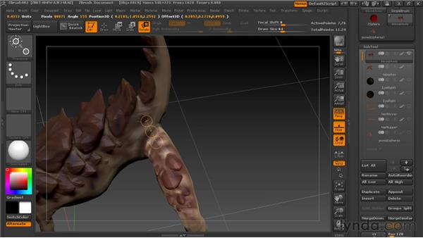 Posing with transpose tools : Digital Creature Creation in ZBrush, Photoshop, and Maya