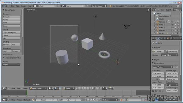 Selecting objects: Blender Essential Training