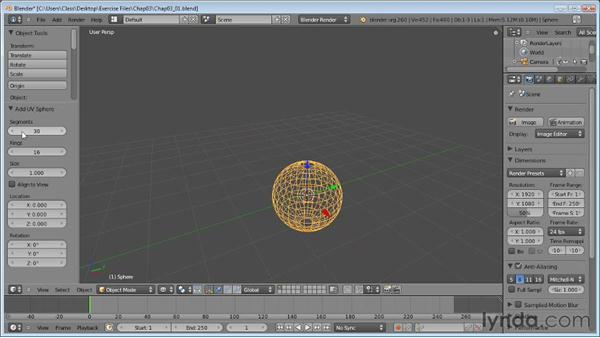 Creating mesh primitives: Blender Essential Training
