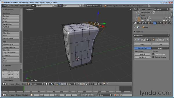 Working with subdivision surfaces: Blender Essential Training