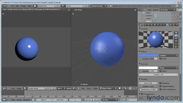 Working with specularity: Blender Essential Training