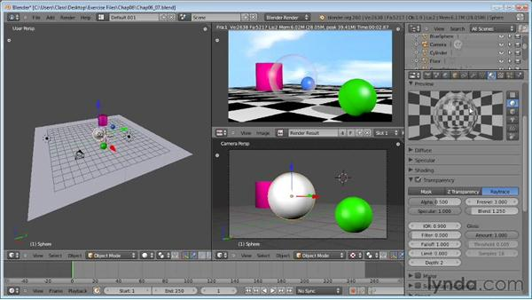 Adding transparency and refractions: Blender Essential Training