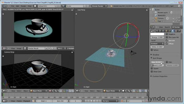 Using spot lamps: Blender Essential Training