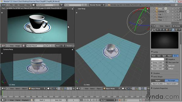 Working with Area lamps: Blender Essential Training