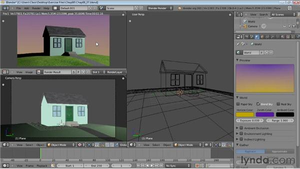 Creating sky and ambient light: Blender Essential Training
