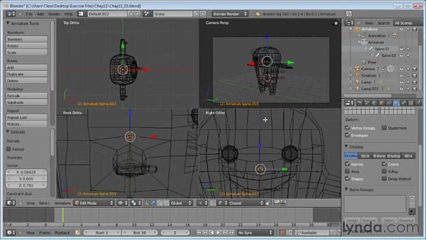 Fitting an armature to a creature: Blender Essential Training