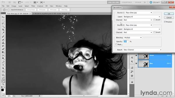 Calculating with the Add mode: Photoshop Masking and Compositing: Hair
