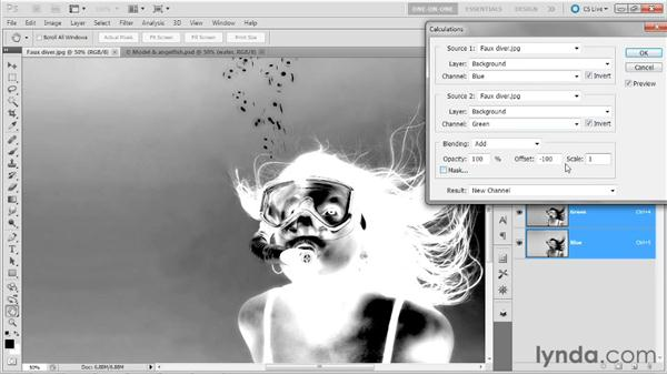 Using the Scale and Offset values: Photoshop Masking and Compositing: Hair