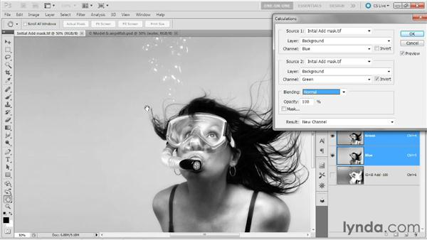 Calculating with the Subtract mode: Photoshop Masking and Compositing: Hair