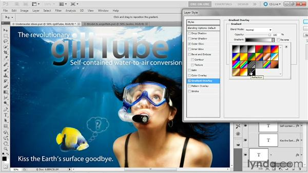 Creating an in-text reflection effect: Photoshop Masking and Compositing: Hair
