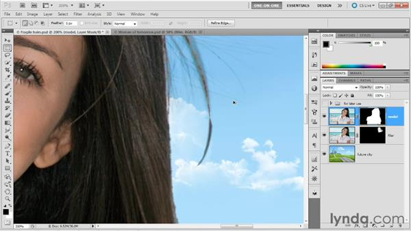 Smudging bad transitions: Photoshop Masking and Compositing: Hair