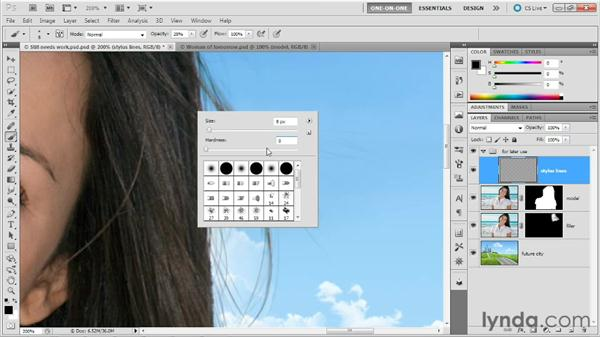 Painting in missing hairs: Photoshop Masking and Compositing: Hair