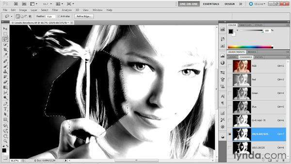 Merging two iterations inside a mask: Photoshop Masking and Compositing: Hair