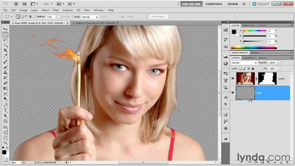 Pulling a background with Apply Image: Photoshop Masking and Compositing: Hair