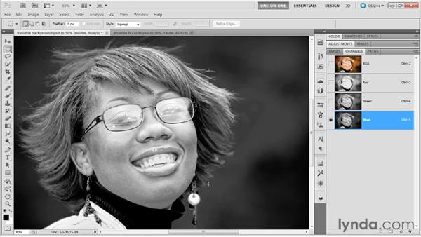 Making a first-pass calculation: Photoshop Masking and Compositing: Hair
