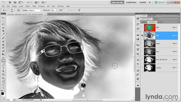 Making a second-pass calculation: Photoshop Masking and Compositing: Hair