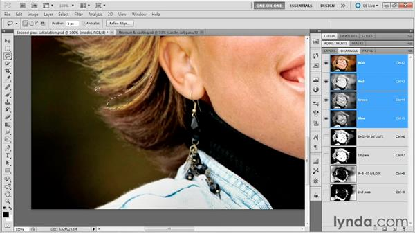 Refining and combining the two passes: Photoshop Masking and Compositing: Hair