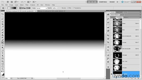 Merging channels inside a mask: Photoshop Masking and Compositing: Hair