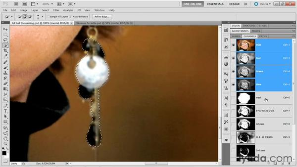 Adding the earring to the mask: Photoshop Masking and Compositing: Hair