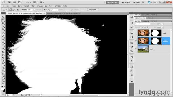 Tweaking and integrating the hair: Photoshop Masking and Compositing: Hair