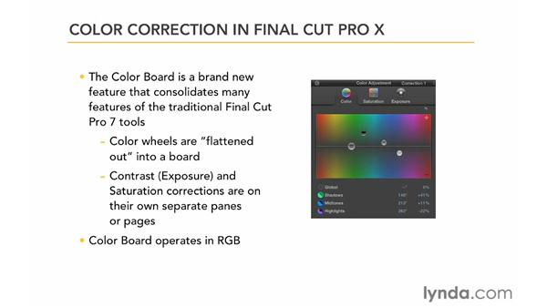 Comparing color correction in Final Cut Pro 7 and Final Cut Pro X: Color Correction in Final Cut Pro X