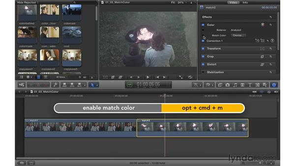 Using Match Color: Color Correction in Final Cut Pro X