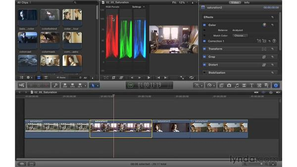 Controlling saturation: Color Correction in Final Cut Pro X