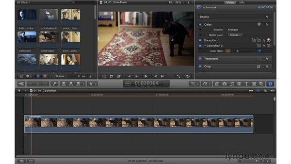 Using a color mask to isolate a correction: Color Correction in Final Cut Pro X
