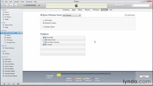 Syncing photos from a PC: iPhone and iPod touch iOS 5 Essential Training