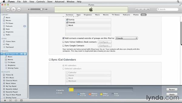 Syncing contacts and calendars from a Mac: iPhone and iPod touch iOS 5 Essential Training