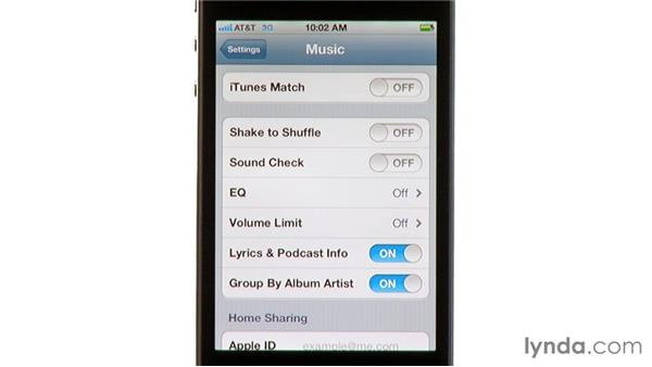 Adjusting your iPod settings: iPhone and iPod touch iOS 5 Essential Training
