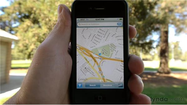 Getting your location with Maps: iPhone and iPod touch iOS 5 Essential Training