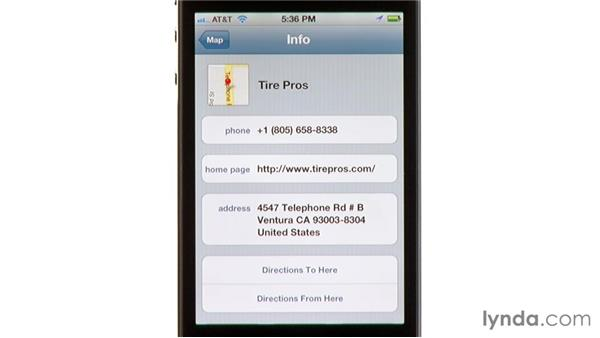 Finding addresses and nearby businesses: iPhone and iPod touch iOS 5 Essential Training