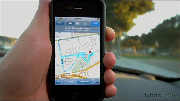 Getting directions: iPhone and iPod touch iOS 5 Essential Training