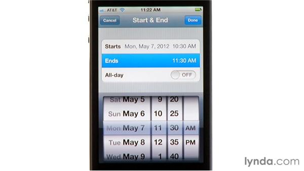 Adding events to your calendar: iPhone and iPod touch iOS 5 Essential Training