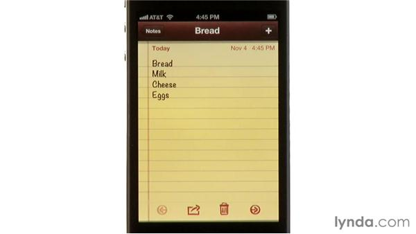 Using the Notes app: iPhone and iPod touch iOS 5 Essential Training