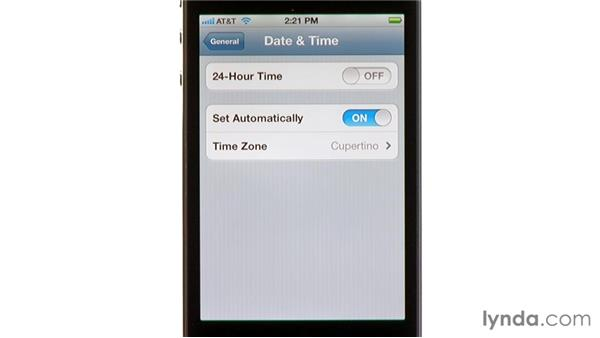 Date and time settings: iPhone and iPod touch iOS 5 Essential Training
