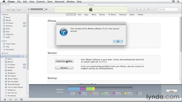 Checking for updates: iPhone and iPod touch iOS 5 Essential Training