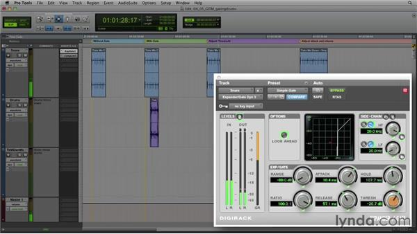 Get in the Mix: Gating a drum track: Foundations of Audio: Compression and Dynamic Processing