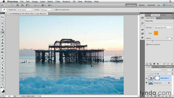 Color balancing using photo filters: Photoshop for Designers: Color (2012)